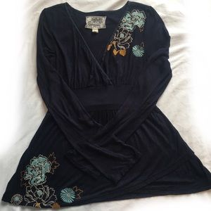 Deletta embroidered faux wrap top with tie in back